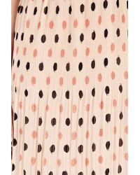 Oasis   Beige Spot Pleated Belted Dress   Lyst