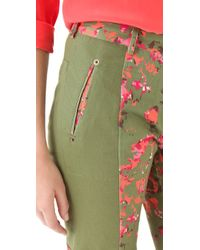 Thakoon Addition - Cameo Green Flower Print Trousers - Lyst
