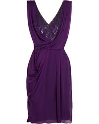 Matthew Williamson | Purple Embellished Lace and Draped Silk Chiffon Dress | Lyst