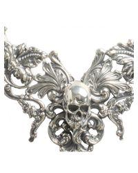 Tom Binns - Metallic Rococo Skull Necklace Silver - Lyst