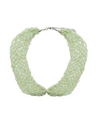 TOPSHOP - Green Seed Bead Peter Pan Necklace - Lyst
