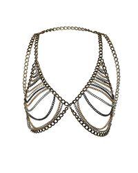 TOPSHOP - Metallic Chain Bra Necklace - Lyst