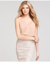 Ann Taylor - Pink Pleated Shell - Lyst
