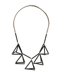 TOPSHOP - Black Geo Triangle Collar Necklace - Lyst
