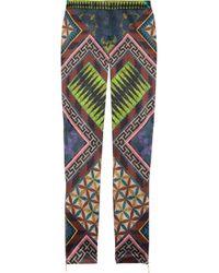 Matthew Williamson | Purple Printed Stretch Satin Skinny Pants | Lyst