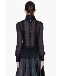 McQ Alexander McQueen | Black Sheer Victorian Blouse | Lyst