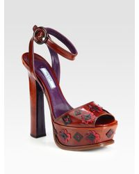 aba43e4122d9 Lyst - Prada Leather Flower Ankle Strap Platform Sandals in Brown