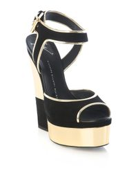 Giuseppe Zanotti   Gold Cutout Wedge Sandals   Lyst