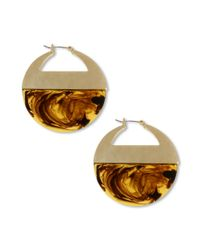 Kenneth Cole | Brown Gold Tone Tortoise Gypsy Hoop Earrings | Lyst