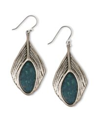Lucky Brand | Blue Silver Tone Semiprecious Turquoise Feather Drop Earrings | Lyst