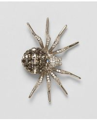 Brooks Brothers - Metallic White Crystal Spider Brooch - Lyst