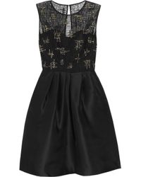 Lela Rose | Black Beaded Lace and Organza Dress | Lyst