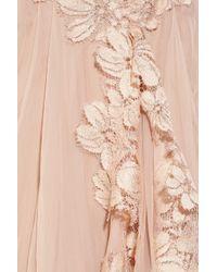 Alberta Ferretti - Pink Lace Appliqué Silk Gown - Lyst