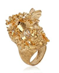 Alexander McQueen - Metallic Skull Crown Ring - Lyst