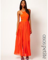 ASOS - Orange Maxi Dress with Strappy Back - Lyst