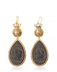 Ferragamo | Black Cameo Pendants with Swarovski Earrings | Lyst