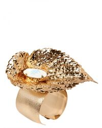 Halaby | Metallic Gold Leaf Bracelet | Lyst