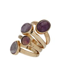 TOPSHOP | Purple Semi Precious Stone Ring Set | Lyst