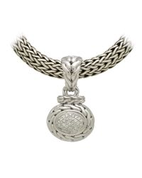 John Hardy - Metallic Pave Diamond Oval Pendant - Lyst