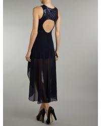 John Zack | Blue Multi Glitter High Low Hem Dress | Lyst