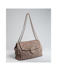 Prada | Brown Mink Ruched Lambskin Chain Strap Shoulder Bag | Lyst