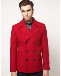 Asos Peacoat Jacket in Red for Men | Lyst