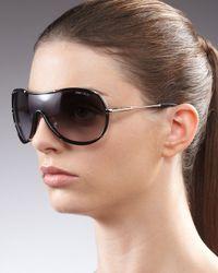 Jimmy Choo   Black Anouk Shield Sunglasses Havana   Lyst