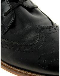 ASOS - Black Asos Brogue Boots with Leather Sole for Men - Lyst