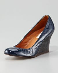 Lanvin - Blue Patent Leather Wedge - Lyst