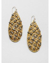 Alexis Bittar - Metallic Pyrite Woven Teardrop Earrings - Lyst