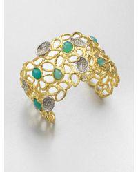 Alexis Bittar | Metallic Swarovski Crystal Accented Chalcedony Cuff Bracelet | Lyst