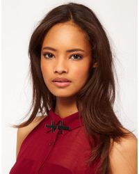 ASOS | Black Double Cross Collar Brooch | Lyst