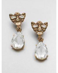 Oscar de la Renta - Metallic Swarovski Crystal Panther Clipon Drop Earrings - Lyst