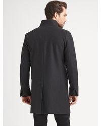 Theory | Gray Melton Long Jacket for Men | Lyst