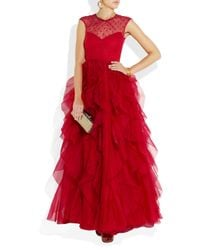 Valentino | Red Lace and Ruffled Silkorganza Gown | Lyst