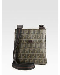 b05090a38ed Fendi Zucca Small Messenger Bag in Black for Men - Lyst
