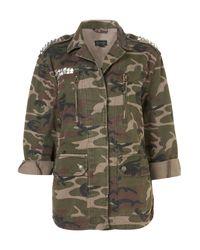 Topshop | Green Studded Camo Jacket | Lyst
