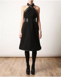 Christopher Kane | Black Leather Trimmed Crepe Wool Halterneck Dress | Lyst