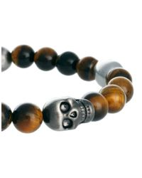 Simon Carter | Brown Beaded Skull Bracelet  for Men | Lyst