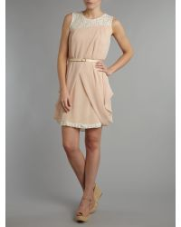 Vivi Boutique | Pink Sleeveless Belted Dress | Lyst