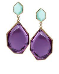 ASOS | Purple Irregular Stone Drop Earrings | Lyst