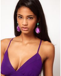 ASOS - Purple Irregular Stone Drop Earrings - Lyst
