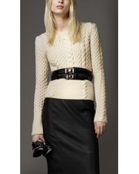 Burberry - Natural Wool Cashmere Cable Knit Sweater - Lyst