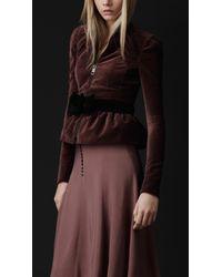 Burberry Prorsum | Purple Velvet Peplum Jacket | Lyst