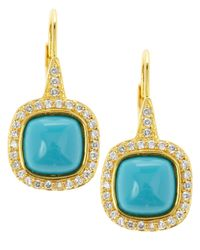 CZ by Kenneth Jay Lane - Blue Pave Turquoise Drop Earrings - Lyst