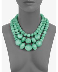 kate spade new york | Green Graduated Multirow Beaded Necklace | Lyst