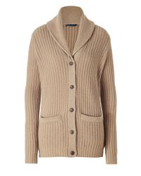 Polo Ralph Lauren - Natural Camel Shawl Cardigan - Lyst