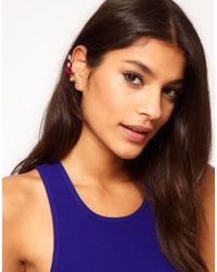ASOS - Multicolor Double Jewelled Ear Cuffs - Lyst