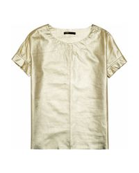 Maje | Suzanne Metallic Leather Tshirt | Lyst