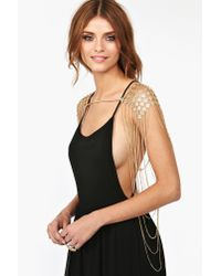 Nasty Gal - Metallic Diamond Body Chain - Lyst